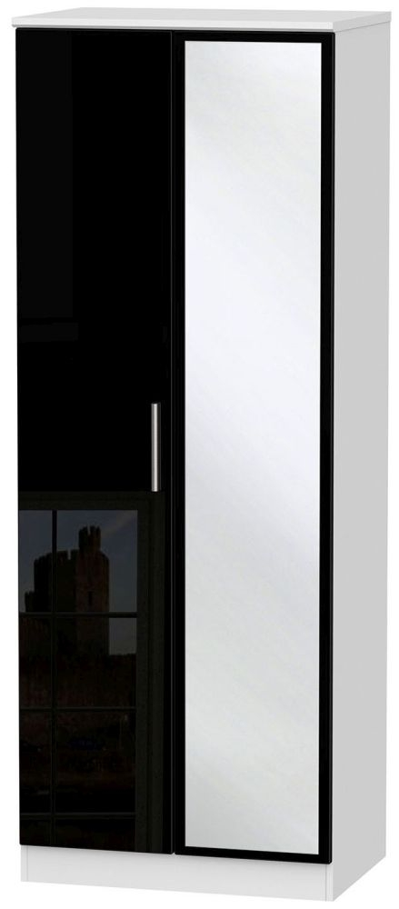 Knightsbridge High Gloss Black and White Wardrobe - Tall 2ft 6in with Mirror
