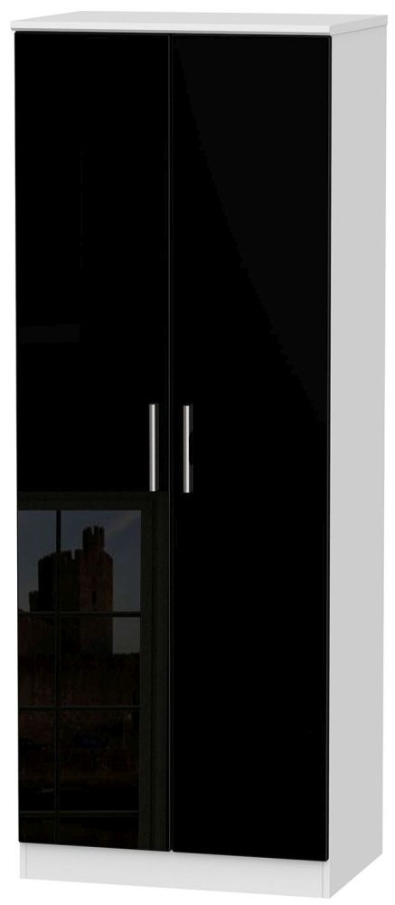 Knightsbridge 2 Door Tall Hanging Wardrobe - High Gloss Black and White