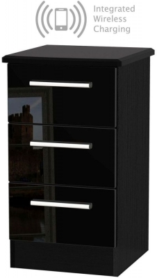 Knightsbridge High Gloss Black 3 Drawer Bedside Cabinet with Integrated Wireless Charging