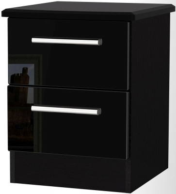 Knightsbridge Black Bedside Cabinet - 2 Drawer Locker