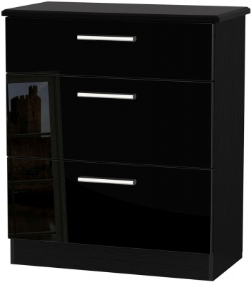 Knightsbridge High Gloss Black Chest of Drawer - 3 Drawer Deep