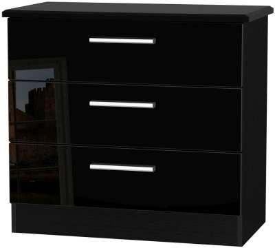 Knightsbridge High Gloss Black Chest of Drawer - 3 Drawer