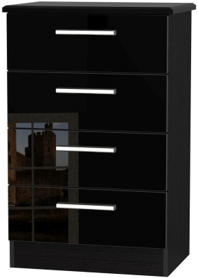 Knightsbridge High Gloss Black Chest of Drawer - 4 Drawer Midi
