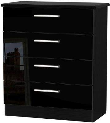 Knightsbridge High Gloss Black Chest of Drawer - 4 Drawer