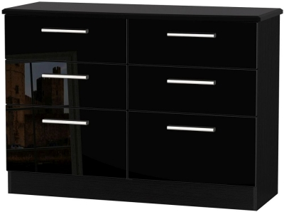 Knightsbridge High Gloss Black Chest of Drawer - 6 Drawer Midi