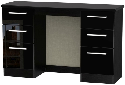 Knightsbridge High Gloss Black Dressing Table - Knee Hole Double Pedestal