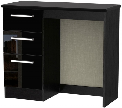Knightsbridge High Gloss Black Dressing Table - Vanity Knee Hole