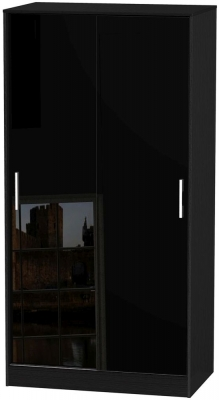 Knightsbridge High Gloss Black 2 Door Sliding Wardrobe