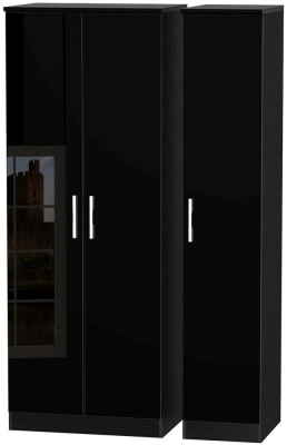 Knightsbridge High Gloss Black Triple Wardrobe - Tall Plain