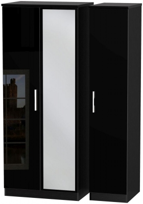 Knightsbridge High Gloss Black 3 Door Mirror Wardrobe