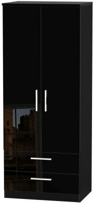 Knightsbridge High Gloss Black Wardrobe - 2ft 6in with 2 Drawer