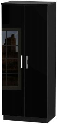 Knightsbridge High Gloss Black Wardrobe - 2ft 6in Plain