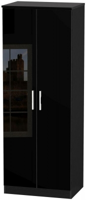 Knightsbridge High Gloss Black Wardrobe - Tall 2ft 6in with Plain