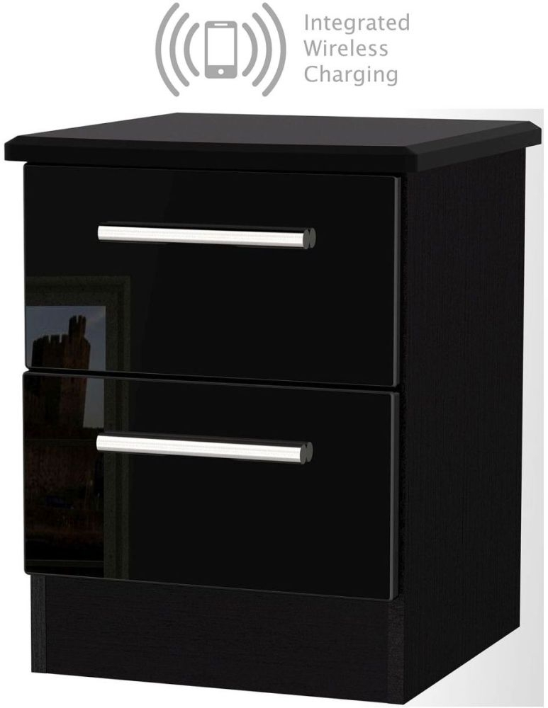 Knightsbridge High Gloss Black 2 Drawer Bedside Cabinet with Integrated Wireless Charging