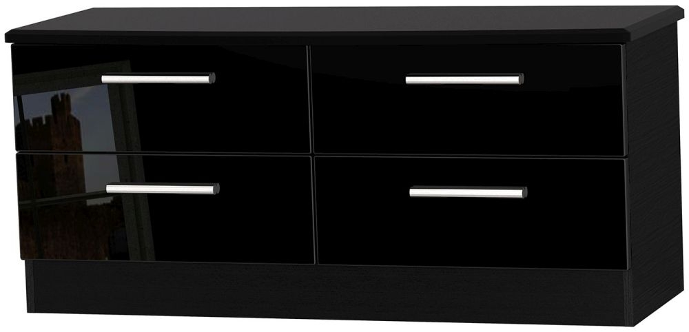 Knightsbridge High Gloss Black Bed Box - 4 Drawer
