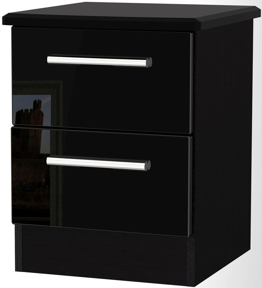 Knightsbridge High Gloss Black Bedside Cabinet - 2 Drawer Locker