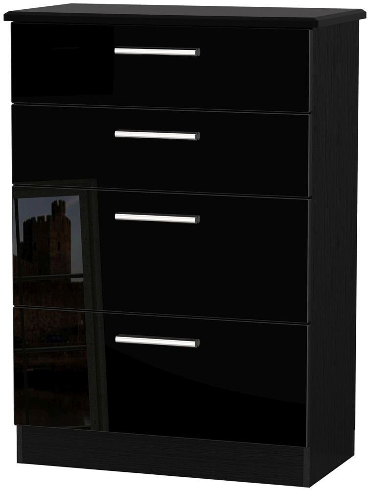 Knightsbridge High Gloss Black Chest of Drawer - 4 Drawer Deep