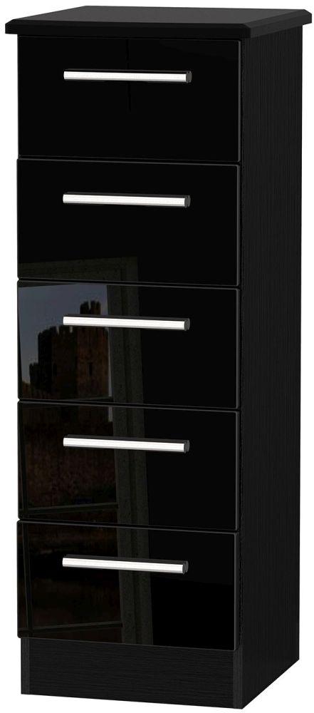 Knightsbridge High Gloss Black 5 Drawer Locker Chest