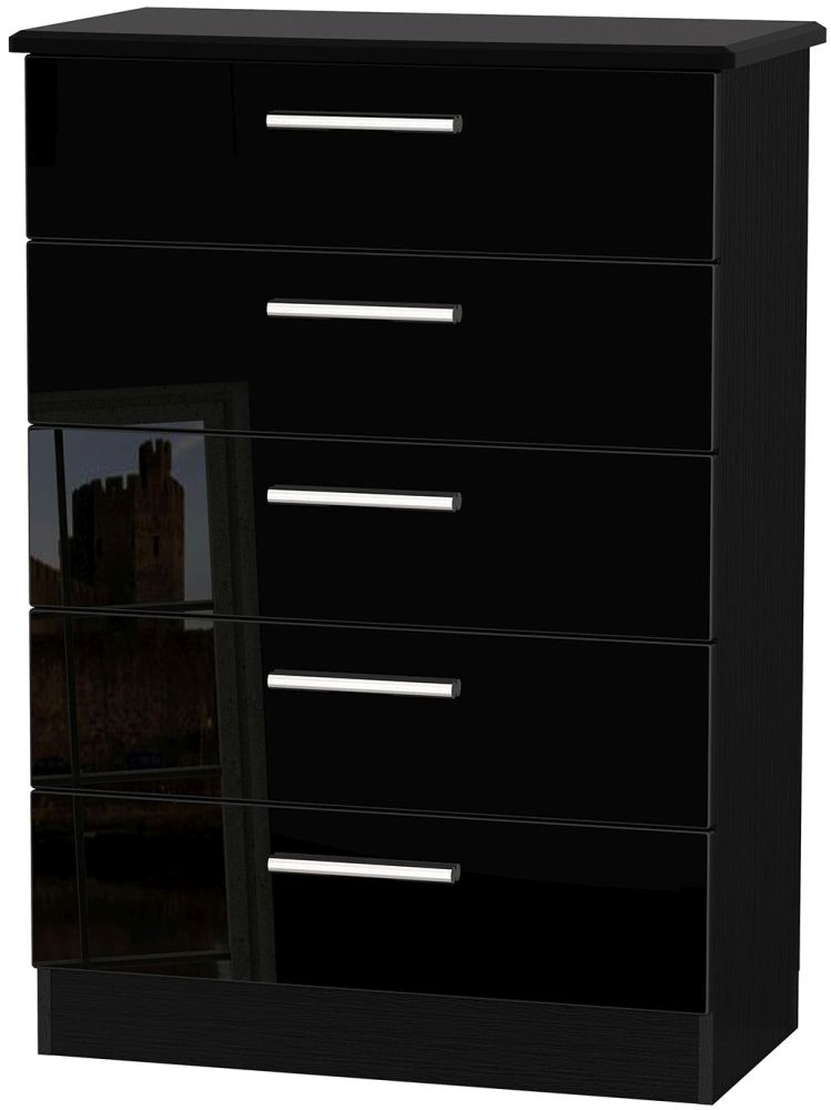 Knightsbridge High Gloss Black 5 Drawer Chest