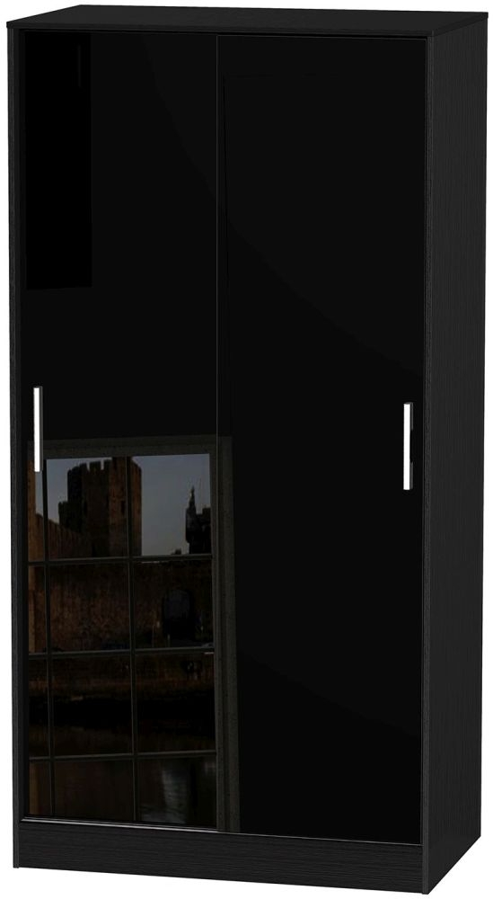 Knightsbridge High Gloss Black Sliding Wardrobe - Wide