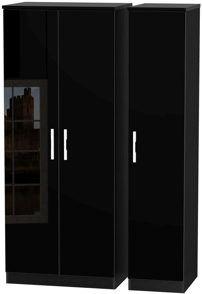 Knightsbridge High Gloss Black 3 Door Plain Triple Wardrobe