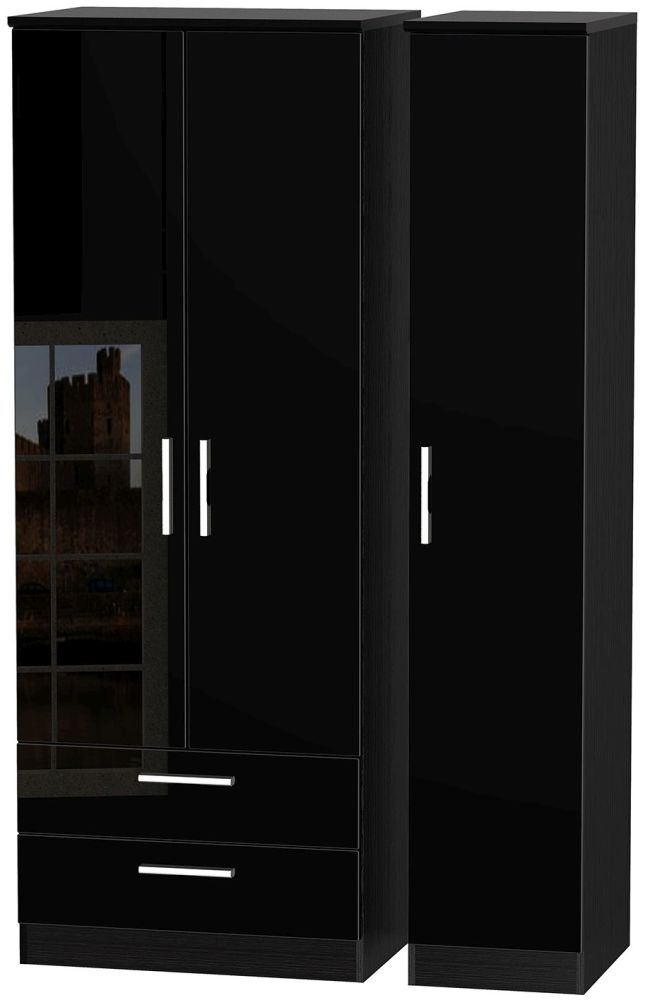 Knightsbridge High Gloss Black 3 Door 2 Drawer Tall Triple Wardrobe