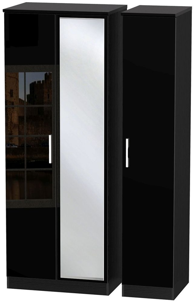 Knightsbridge High Gloss Black 3 Door Tall Mirror Wardrobe