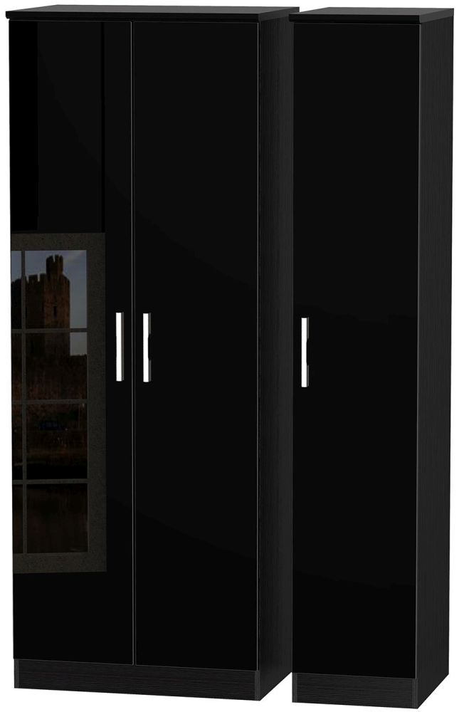 Knightsbridge High Gloss Black Triple Wardrobe - Tall Plain
