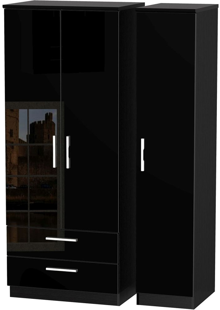 Knightsbridge High Gloss Black Triple Wardrobe with 2 Drawer