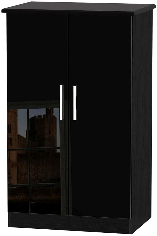 Knightsbridge High Gloss Black 2 Door Plain Midi Wardrobe