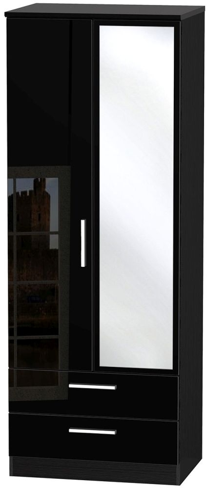 Knightsbridge High Gloss Black Wardrobe - Tall 2ft 6in with 2 Drawer and Mirror