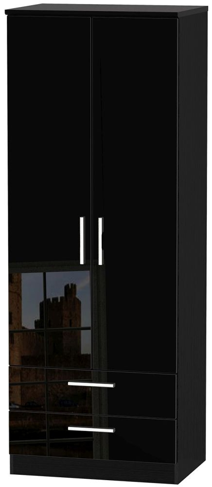 Knightsbridge High Gloss Black 2 Door 2 Drawer Tall Double Wardrobe