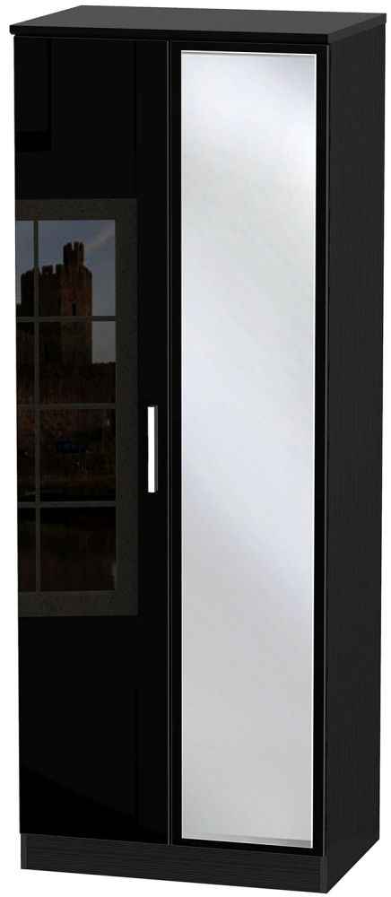 Knightsbridge High Gloss Black 2 Door Tall Mirror Double Wardrobe