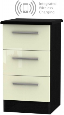 Knightsbridge 3 Drawer Bedside Cabinet with Integrated Wireless Charging - High Gloss Cream and Black
