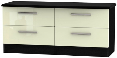 Knightsbridge High Gloss Cream and Black Bed Box - 4 Drawer