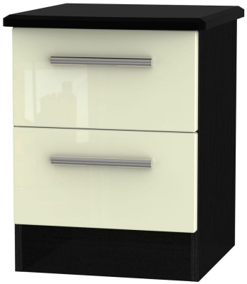 Knightsbridge 2 Drawer Bedside Cabinet - High Gloss Cream and Black