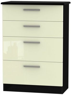 Knightsbridge High Gloss Cream and Black Chest of Drawer - 4 Drawer Deep