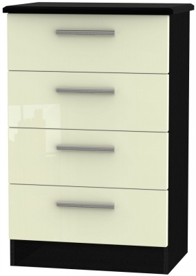 Knightsbridge High Gloss Cream and Black Chest of Drawer - 4 Drawer Midi