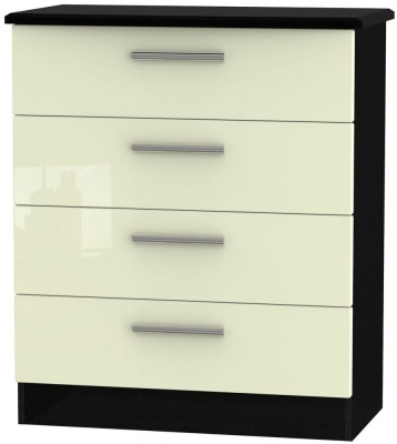 Knightsbridge 4 Drawer Chest - High Gloss Cream and Black