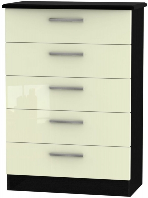 Knightsbridge 5 Drawer Chest - High Gloss Cream and Black