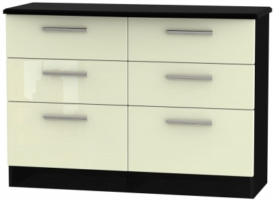 Knightsbridge 6 Drawer Midi Chest - High Gloss Cream and Black