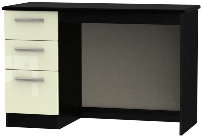 Knightsbridge High Gloss Cream and Black Desk - 3 Drawer