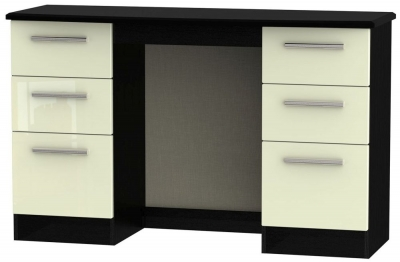 Knightsbridge Double Pedestal Dressing Table - High Gloss Cream and Black