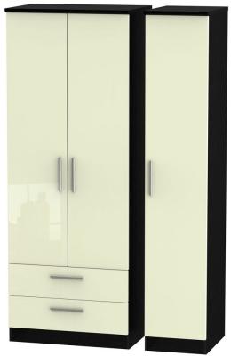 Knightsbridge High Gloss Cream and Black Triple Wardrobe - Tall with 2 Drawer