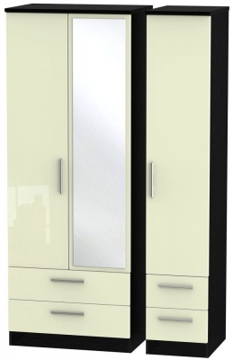 Knightsbridge 3 Door 4 Drawer Tall Combi Wardrobe - High Gloss Cream and Black
