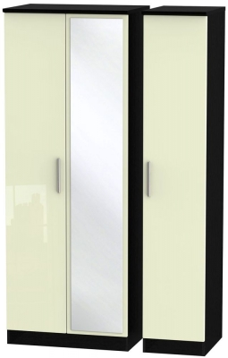 Knightsbridge 3 Door Tall Mirror Wardrobe - High Gloss Cream and Black