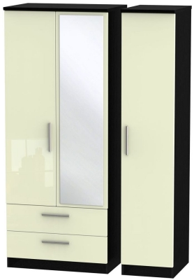 Knightsbridge 3 Door 2 Left Drawer Combi Wardrobe - High Gloss Cream and Black