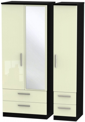Knightsbridge 3 Door 4 Drawer Combi Wardrobe - High Gloss Cream and Black