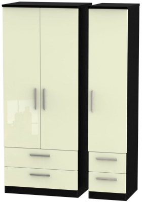 Knightsbridge High Gloss Cream and Black Triple Wardrobe with Drawer