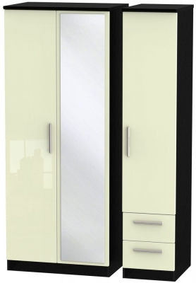 Knightsbridge 3 Door 2 Right Drawer Combi Wardrobe - High Gloss Cream and Black